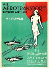 Advertising Poster Aerotransport Swedish Airlines Art Deco