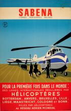 Advertising Poster Sabena Helicopter International Flights