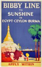 Travel Poster To Egypt, Ceylon,  Burma by Bibby Line