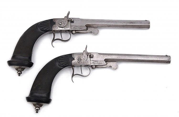 A Rare Cased Pair of Breech-Loading Percussion Pistols