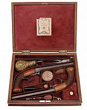 Cased Set of Percussion Underhammer Pistols by Jean Baptiste Cessier