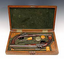 A Pair of Percussion Pistols in a Case, A. Buszinger in Brüx