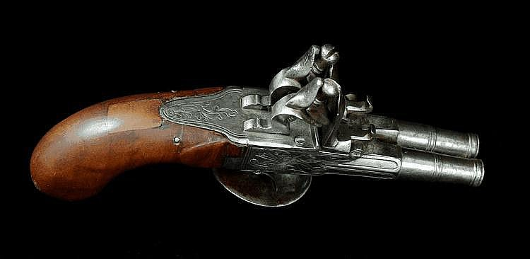 A Two-barrel Flintlock Pistol,
