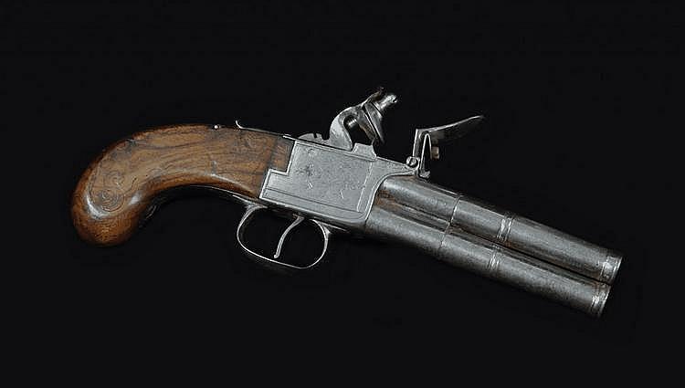 A Double-Barrelled Tap Action Flintlock Pocket Pistol