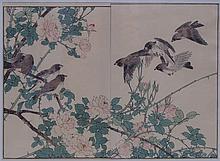 Imao Keinen ?? ?? (1845 - 1924) : A flock of birds above a rose bush