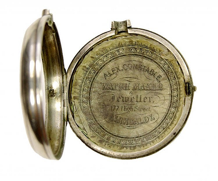 Silver pocket watch with spindle movement