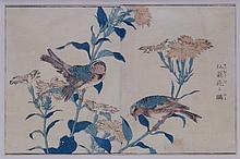 Kitao Shigemasa (1739-1819): Greenfinch in carnations (Senoke ni hiwa ??? ? ? ) from Kachó shashin zue.