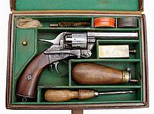 A Webley Revolver (Longspur Pistol), 2nd Model.  In Leather Case.