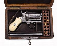 A Cased Pinfire Pepperbox Revolver with Removable Barrel