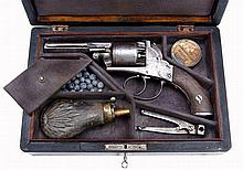 A Cased Webley Bentley Type Open Frame Percussion Revolver
