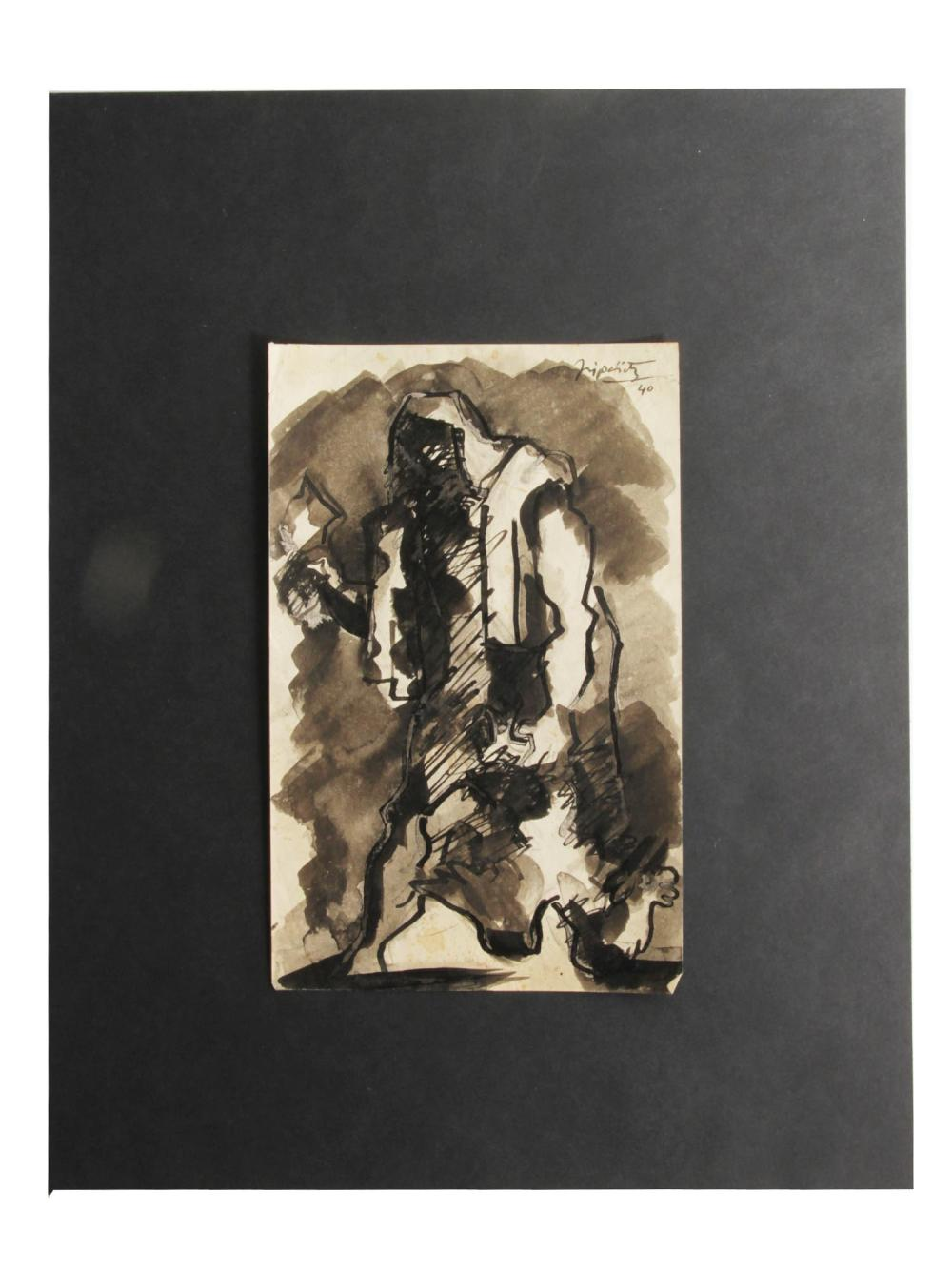 A JACQUES LIPCHITZ ORIGINAL INK ON PAPER PAINTING