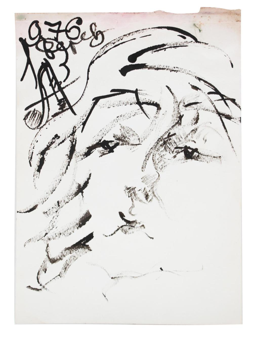 AN ANATOLY ZVEREV BLACK INK ON PAPER PAINTING