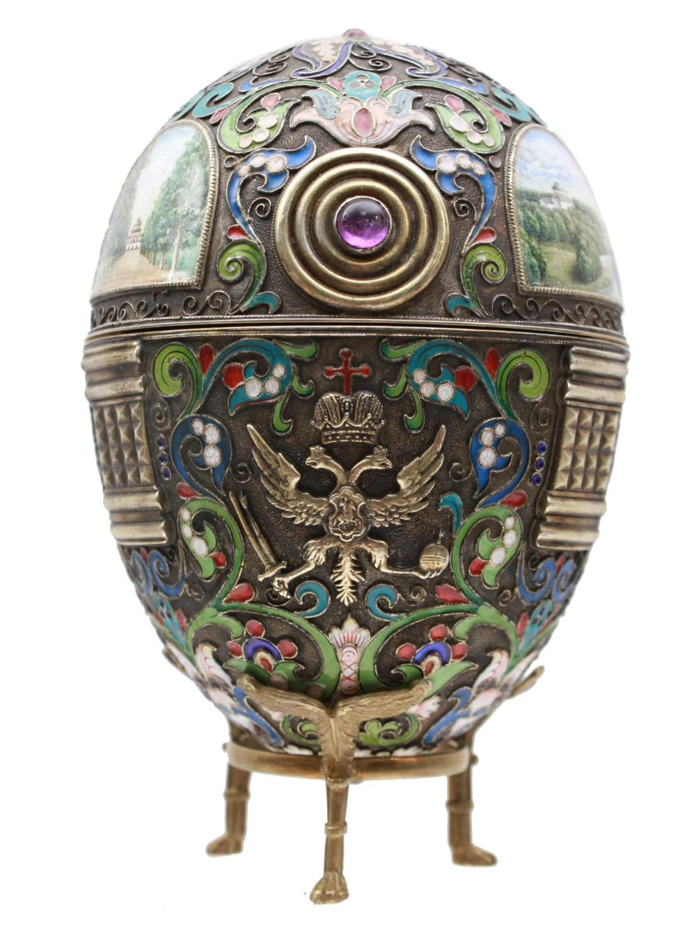 A LARGE XL RUSSIAN SILVER & ENAMEL EGG WITH STAND