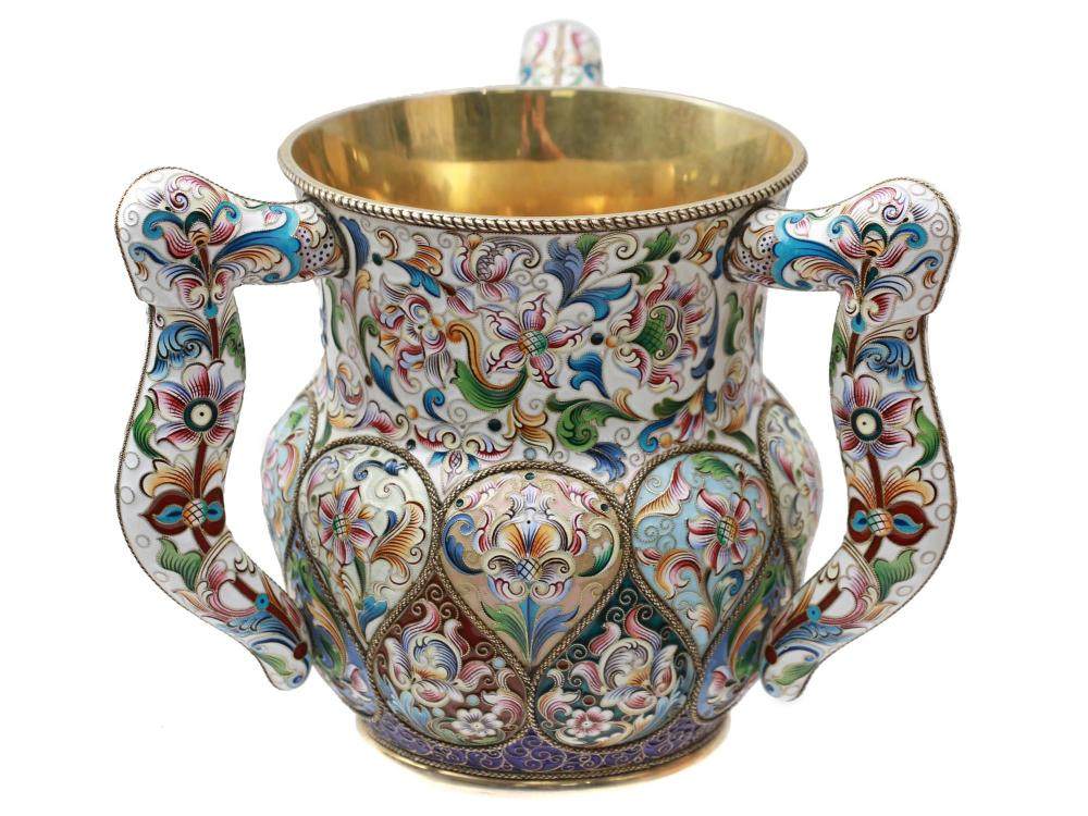 RUSSIAN GILT SILVER AND ENAMEL THREE HANDLED CUP