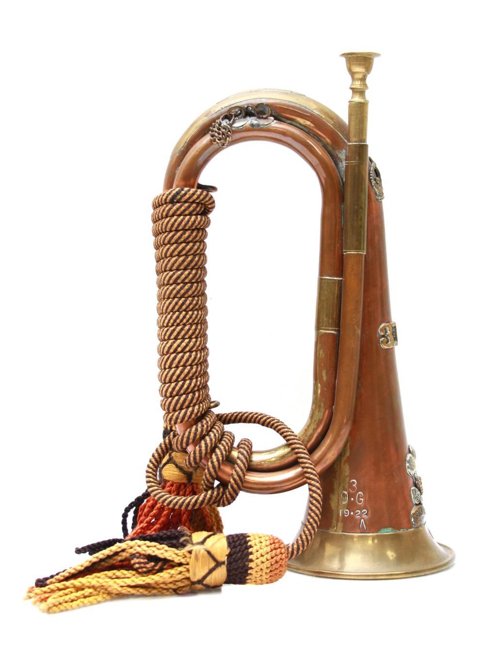 AN ANTIQUE BRASS AND SILVER REGIMENT BUGLE HORN