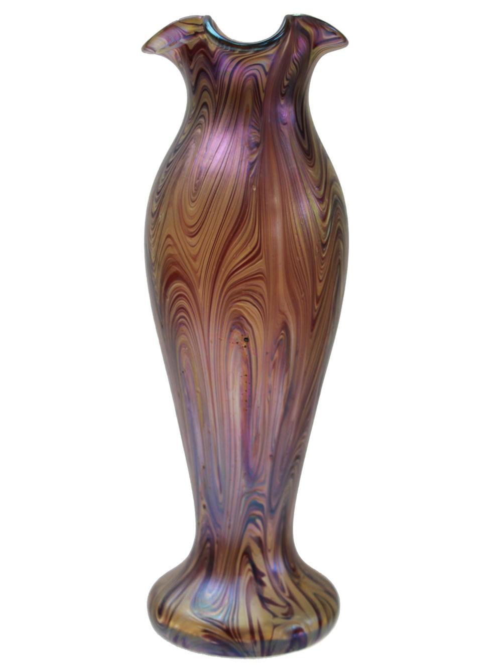 A LOETZ IRIDESCENT BOHEMIAN ART GLASS VASE