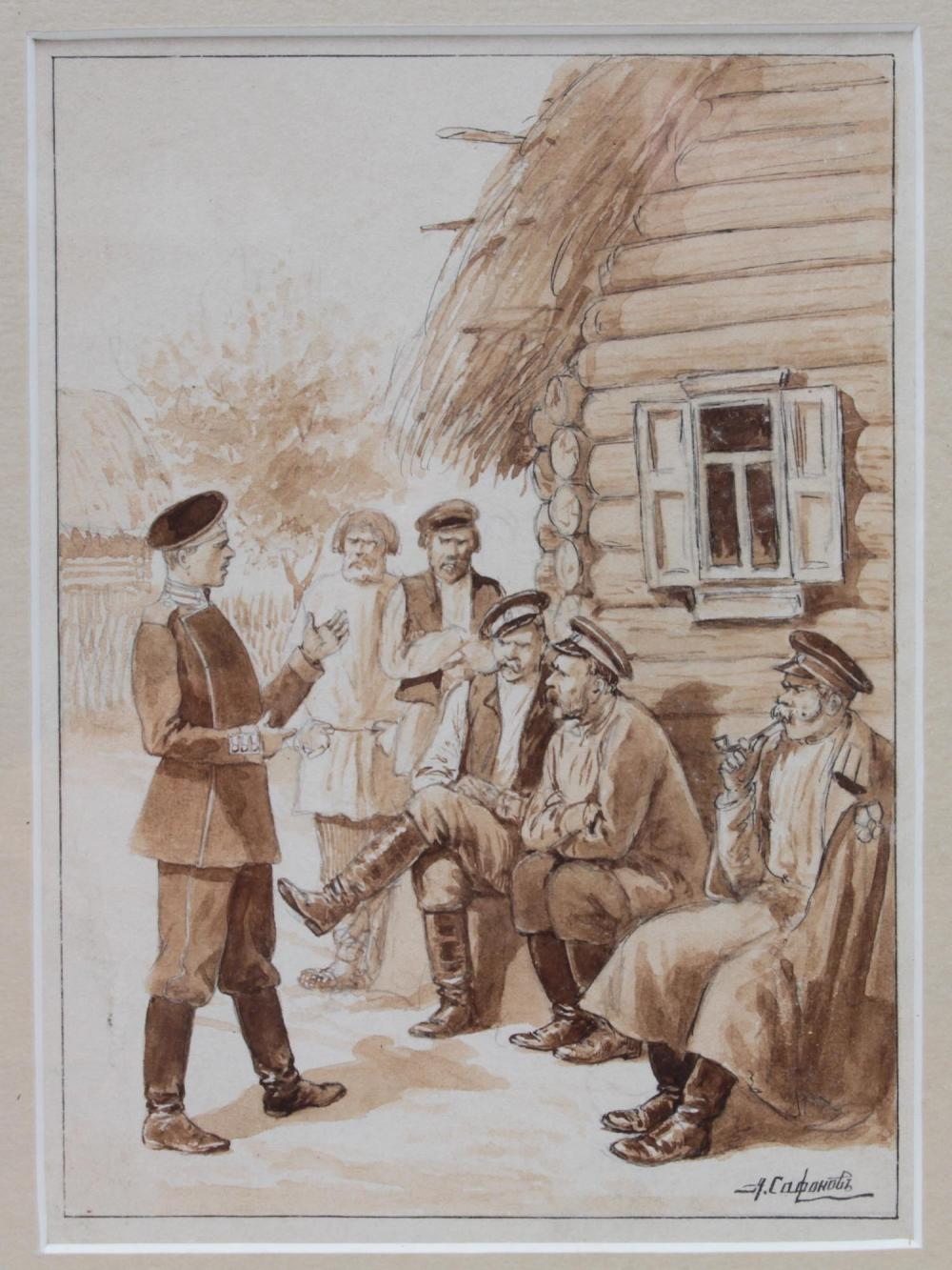 RUSSIAN PEN AND INK PAINTING ON PAPER BY SAFONOV
