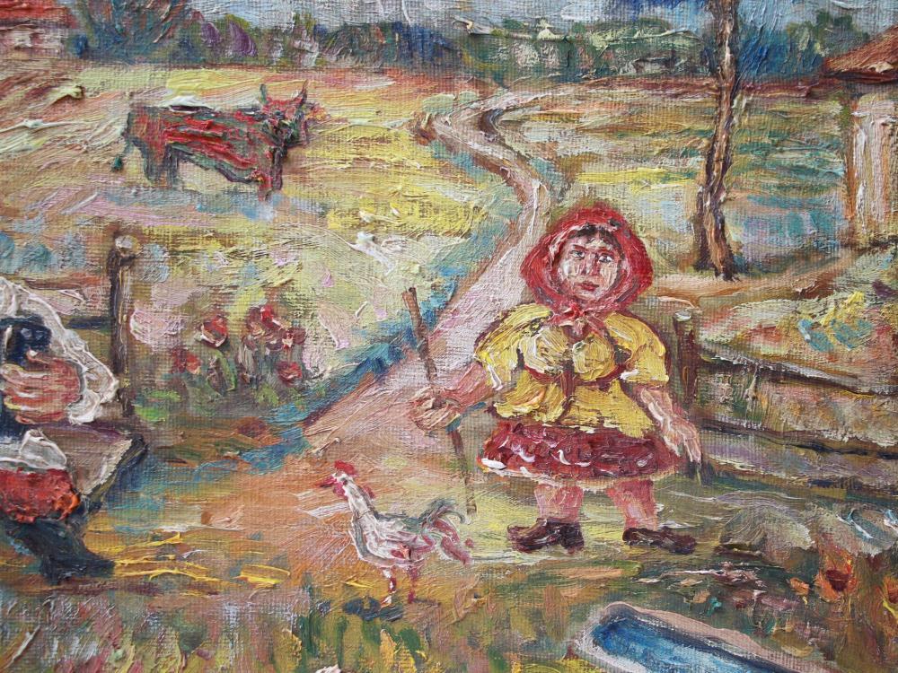 RUSSIAN OIL PAINTING PEASANT BY DAVID BURLIUK