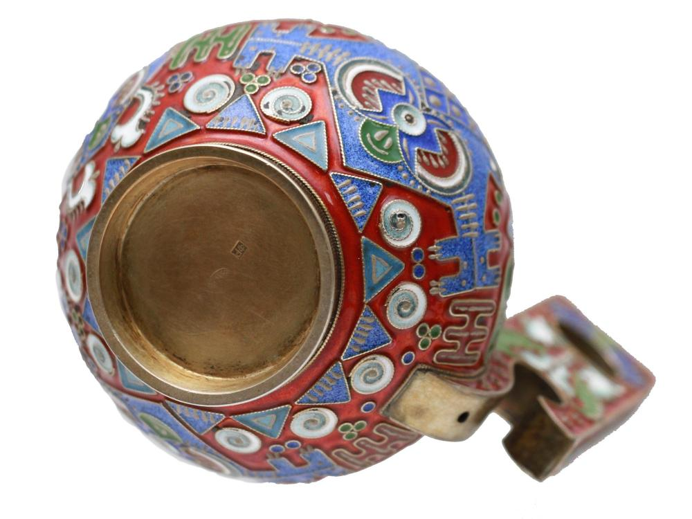 A RUSSIAN GILT SILVER AND ENAMELED KOVSH