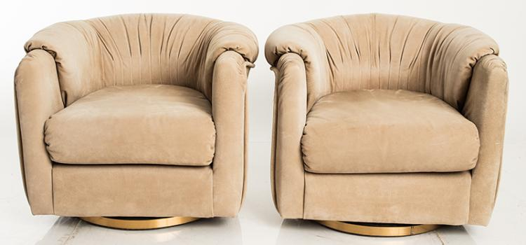 Pair Of Suede Club Chairs