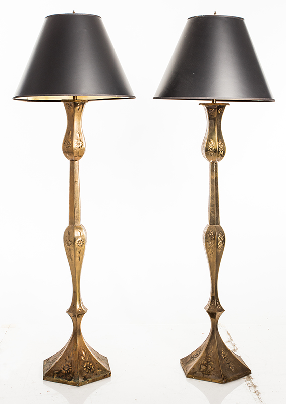 Pair Of Repoussé Floor Lamps