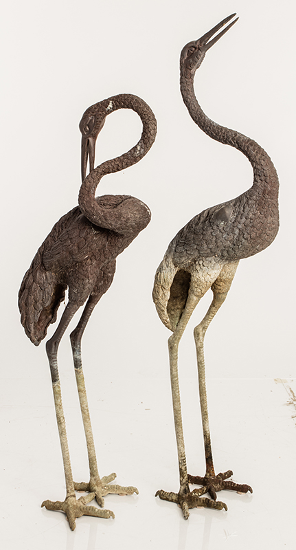 Pair Of Bronze Crane Statues
