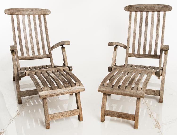 Pair Of Teak Chaise Lounges