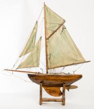 Green Sailed Pond Boat