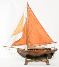 Red Sailed Pond Boat