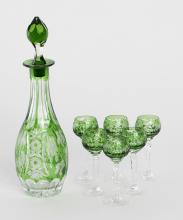 Emerald Green Cut Glass Liquor Set