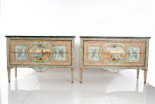 Pair Of Italian Painted Coomodes