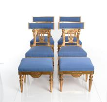 Set Of Four Late Gustavian Chairs And Two Stools.