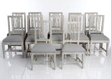 Set Of Twelve Gustavian Dining Chairs