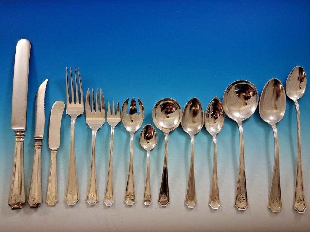 """Fairfax by Durgin-Gorham Sterling Silver Salad Serving Spoon 9/"""""""