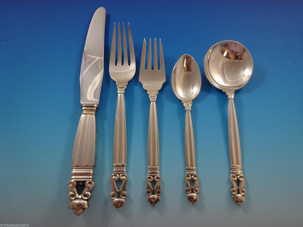 "Acorn by Georg Jensen Sterling Silver Salad Fork 4-Tine 5 3//4/"""