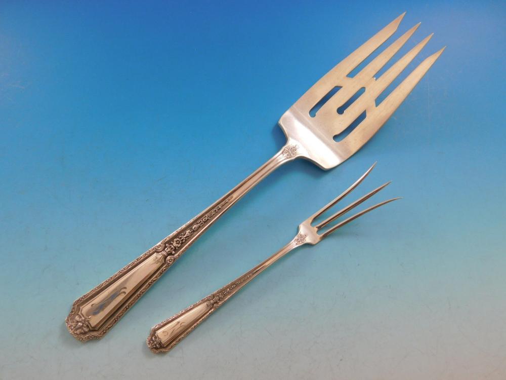 """Towle Louis XIV Serving Spoon /""""M/"""" Mono Sterling Silver Flatware"""