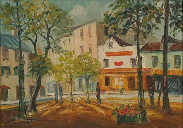Andre Franchet, (1896-1961), French city scene/Paris, oil on canvas, 9 1/4