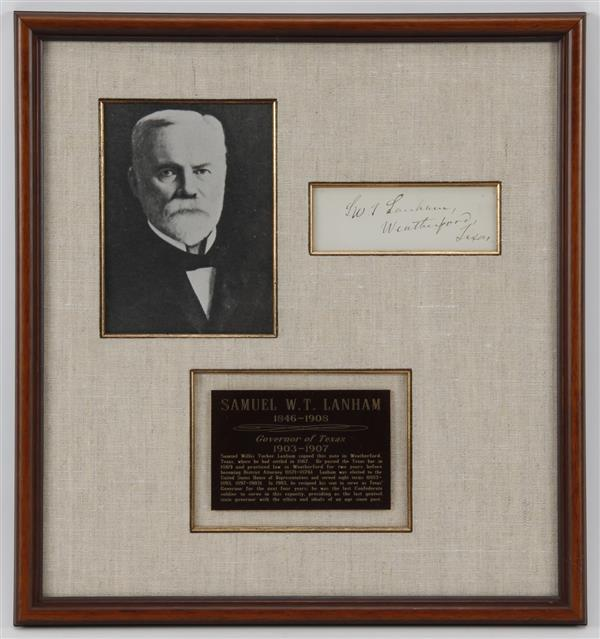 Signed Note by Samuel W. T. Lanham in presentation frame
