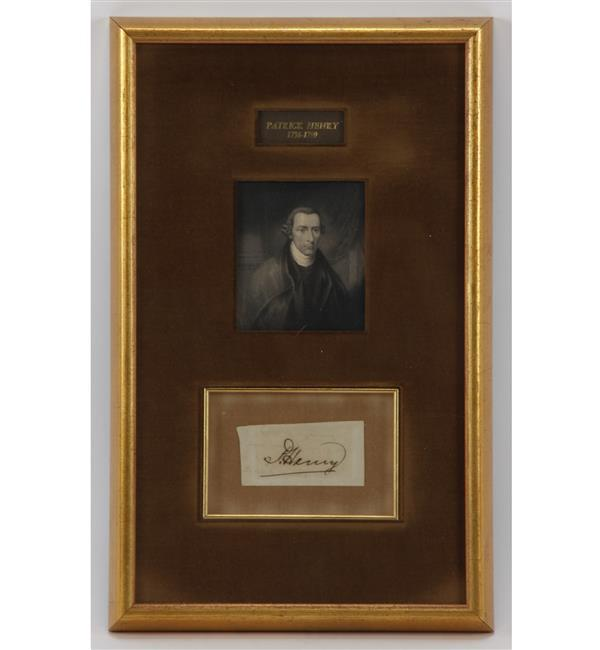 Framed portrait & signature of Patrick Henry.