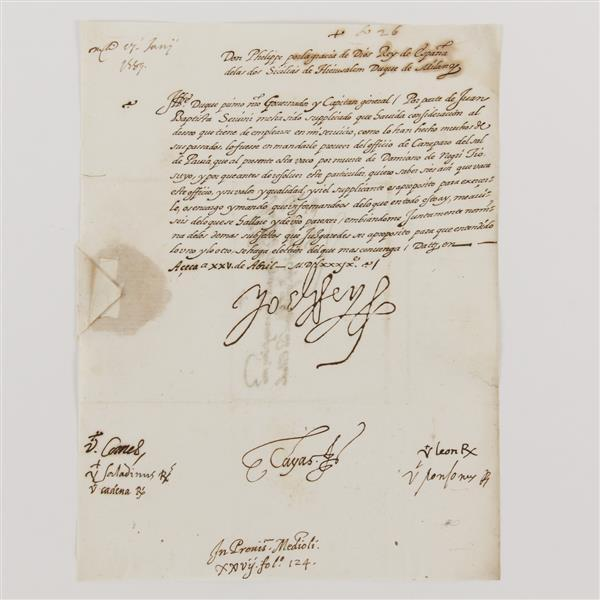 Philip II, King of Spain (1556-1598) handwritten and signed letter.
