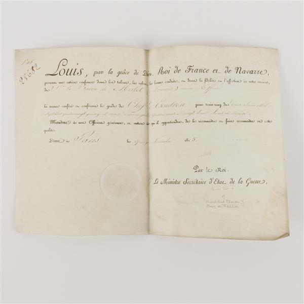 King Louis XVIII of France & other signatures on vellum appointing military officer; 1815.