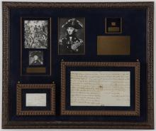 Signed letter by Horatio Nelson (1758-1805) in presentation frame