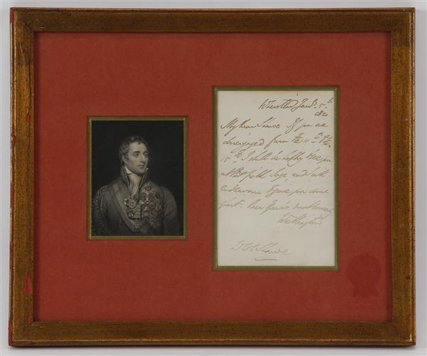 Signed Letter by Arthur Wellesley Duke of Wellington. Includes vintage portrait engraving.