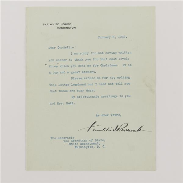 Franklin Roosevelt, signed letter to Cordell Hull from executive mansion, 1938.
