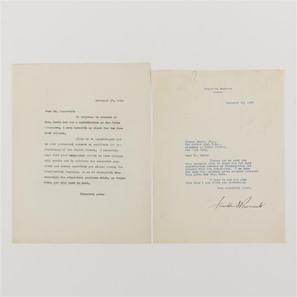 Franklin Roosevelt Signed letter to Thomas Dwyer, 1932.