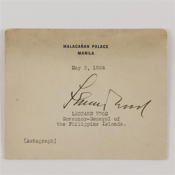 Leonard Wood, commander of the Rough Riders, autograph.