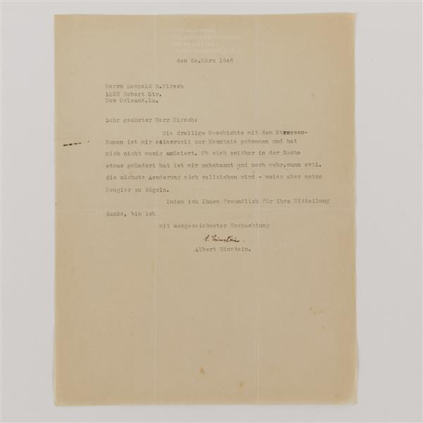 Albert Einstein signed letter to Herrn Leopold Hirsch typed in German , 1946.
