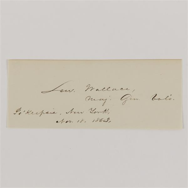 Union General Lew Wallace, signature, 1863.