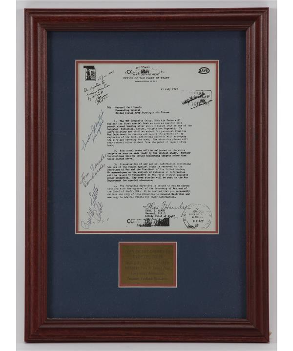 Copy of the orders to drop the atomic bombs in 1945 signed and autographed by Enola Gay Crew Members.
