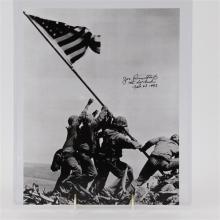 Iwo Jima soldier signed photo autographed by associated press photographer Joe Rosenthal; 1945.